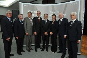 At the announcement, from left: Jean-Claude Dufour, dean of Universite Laval's Faculty of Agricultural Sciences and Food; Dr. Renald Bergeron, dean of the Faculty of Medicine; Alain Beaudet, CIHR president; Jean-Yves Duclos, federal minister of family, children and social development; Vincenzo Di Marzo, Canada excellence research chair in the microbiome-endocannabinoidome axis in metabolic health; Kirsty Duncan, federal science minister; Denis Brière, rector of Université Laval; and Edwin Bourget, vice-president research and creation. Photo: Marc Robitaille.